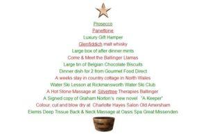 Raffle prizes Christmas at Ballinger